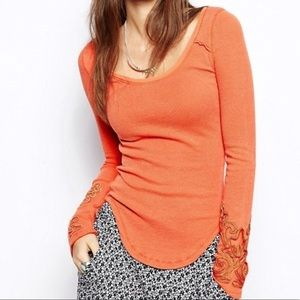 Orange Free People Thermal Long Sleeve